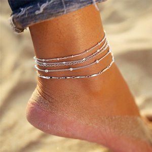NWOT 5-Layer Silver Anklet